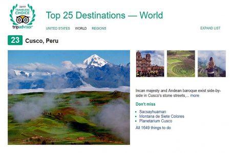 TripAdvisor incluye a Cusco en ranking de los 25 mejores destinos del mundo