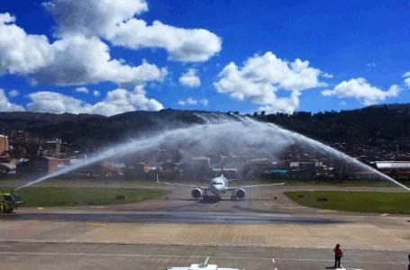 Aeropuerto de Cusco dio la bienvenida al vuelo inaugural de Sky Airline