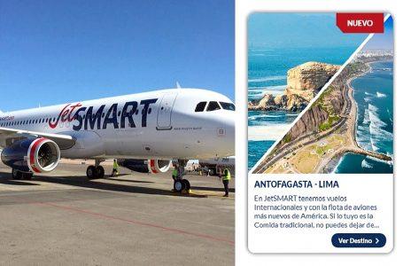 JetSmart unirá Lima y Antofagasta con dos vuelos semanales desde marzo de 2020