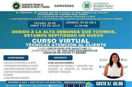 """Apavit y Universidad Ricardo Palma organizan curso virtual """"Técnicas de Atención al Cliente"""""""