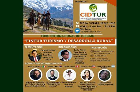 """CIDTUR realizará Foro Internacional """"Turismo y Desarrollo Rural"""" el 25 de setiembre"""