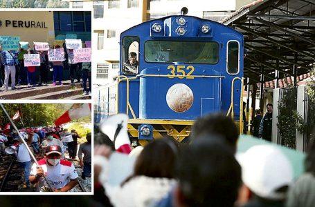 Cientos de pobladores protestan y bloquean vía férrea por alza de tarifas de tren a Machu Picchu