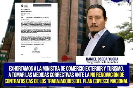 Denuncian despido masivo en Plan Copesco Nacional: congresista pide explicaciones al Mincetur